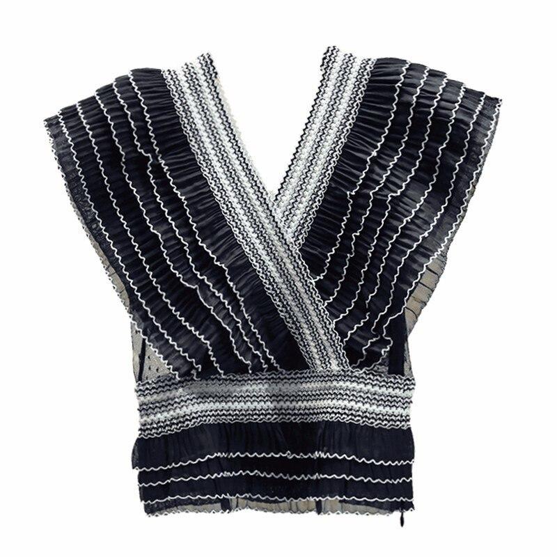 Sexy rayé à volants en mousseline de soie blouse blanc chemise d'été col en v maille patchwork femmes hauts et chemisiers blusas mujer de moda 2019 - 6