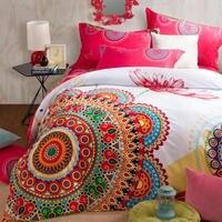 Экспорт 4 шт. хлопок шлифование живопись красный павлин постельных принадлежностей экзотический народном стиле домашний текстиль Full/Корол