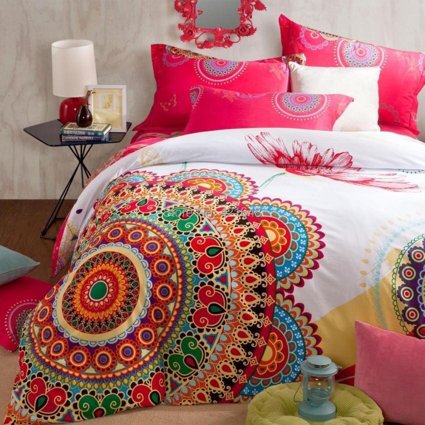 Acheter L'exportation 4 pcs coton ponçage peinture rouge paon ensemble de literie exotique folk style textile de maison plein/reine/roi taille livraison gratuite de home textile fiable fournisseurs