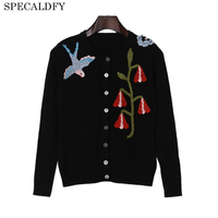 Runway Designer Brand Sweaters For Ladies Autumn Knitted Sweater Coat Women Luxury Birds Embroidery Black Cardigan