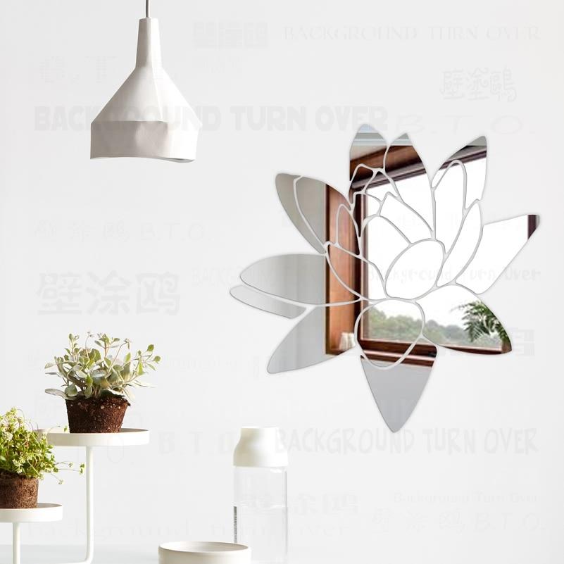 Blooming Lotus Flower 3D Espejo Decorativo Pegatinas de Pared Sala de - Decoración del hogar