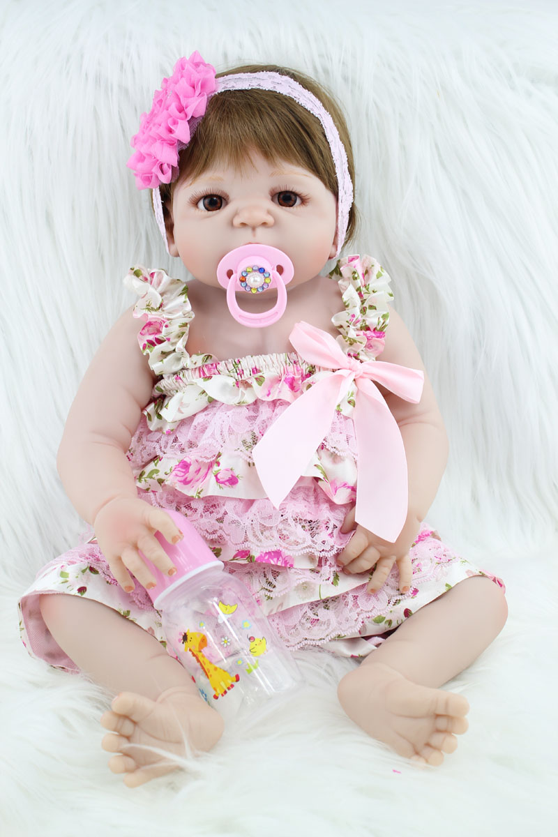 55cm Full Silicone Body Reborn Baby Like Real Doll Toys Newborn Princess Girl Babies Dolls Child Birthday Gift Present Bathe Toy цена