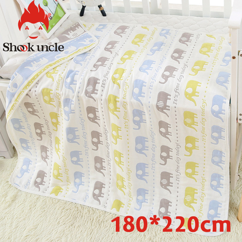 Muslin Swaddle Couvertures À Emmailloter 100% Coton Swaddle Wrap pour Nouveau-Né Bébés 6 Couche Serviette De Bain Couverture Bébé Literie 150*200 cm