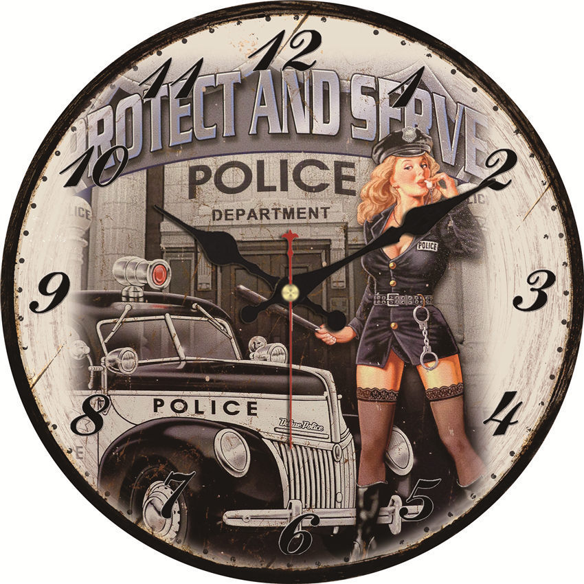 Shabby Chic Policewoman Design Clock Home Decor Office Cafe Kitchen Wall Watches Silent Wall Clocks Art Vintage Large Wall Clock Buy At The Price Of 7 90 In Aliexpress Com Imall Com
