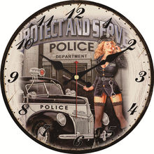 Shabby Chic Policewoman Design Clock Home Decor Office Cafe Kitchen Wall Watches Silent Wall Clocks Art Vintage Large Wall Clock стоимость