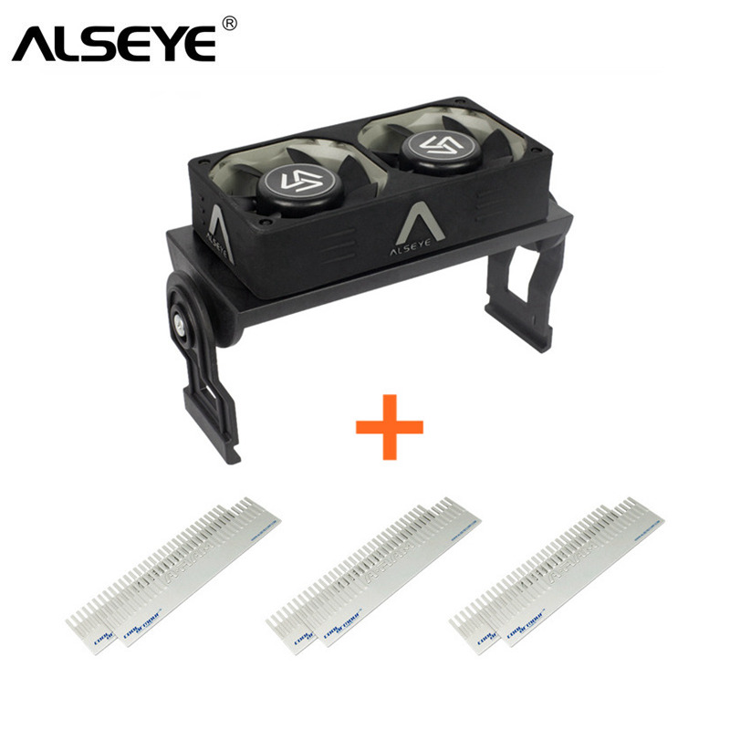 ALSEYE Computer Memory Cooling Fan RAM Cooler Aluminum Heatsink and Dual PWM 60mm Fans Radiator 4000RPM for DDR12345 gino 2 pcs blue aluminum heatsink shim spreader cooler cooling for ddr ram memory