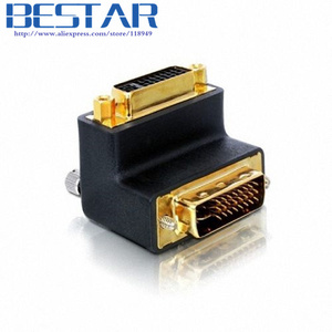 90 Degree Right Angled DVI 24+5 D dvi-d Digital Dual Link Male To Female Extension Adapter for HDTV LCD Monitor(China)