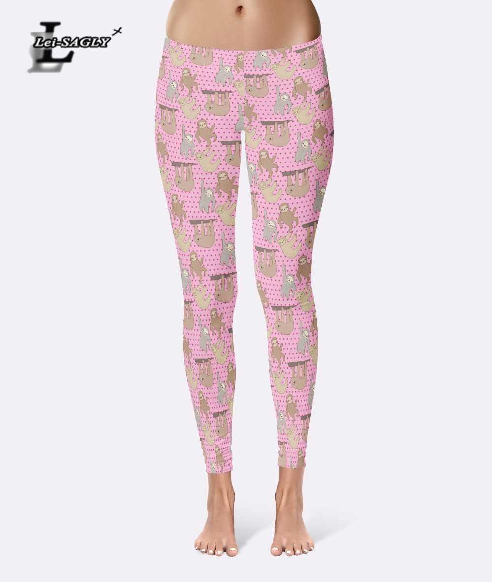 5cca972e2555db Lei-SAGLY Leggings Hot Sell Women's Cartoon Sloth Print Pink Leggings  Digital Print Pants Trousers