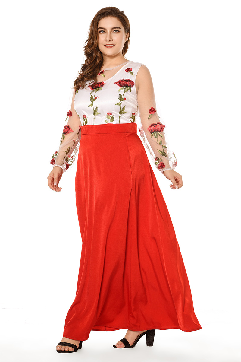 7900c7655c3c4 Simplee Plus Mesh Rose Flower Floral Embroidery Runway Maxi Women Bohemia  Beach Perspective Lace Long Dress Plus Size