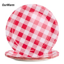 OurWarm 8pcs Birthday Party Paper Plates Red and White Checkered Disposable Dinnerware Baby Shower Picnic Supplies 23*23cm