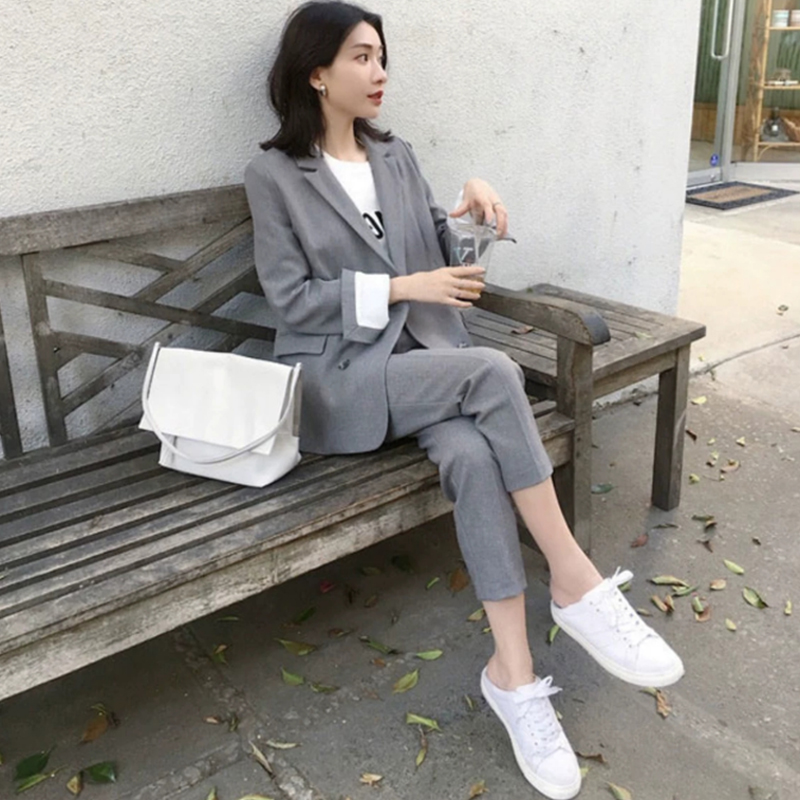 Womens Business Suit Female Office Uniform Ladies Formal Trouser Suit Single Breasted Blazer Jacket & Pants Suits 2019