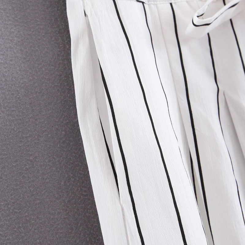 Black White Striped Wide Leg Pants Womens Long Zipper Fly Belt Waist Trousers Female Cargo Pants Women Sweatpants Mujer ES2