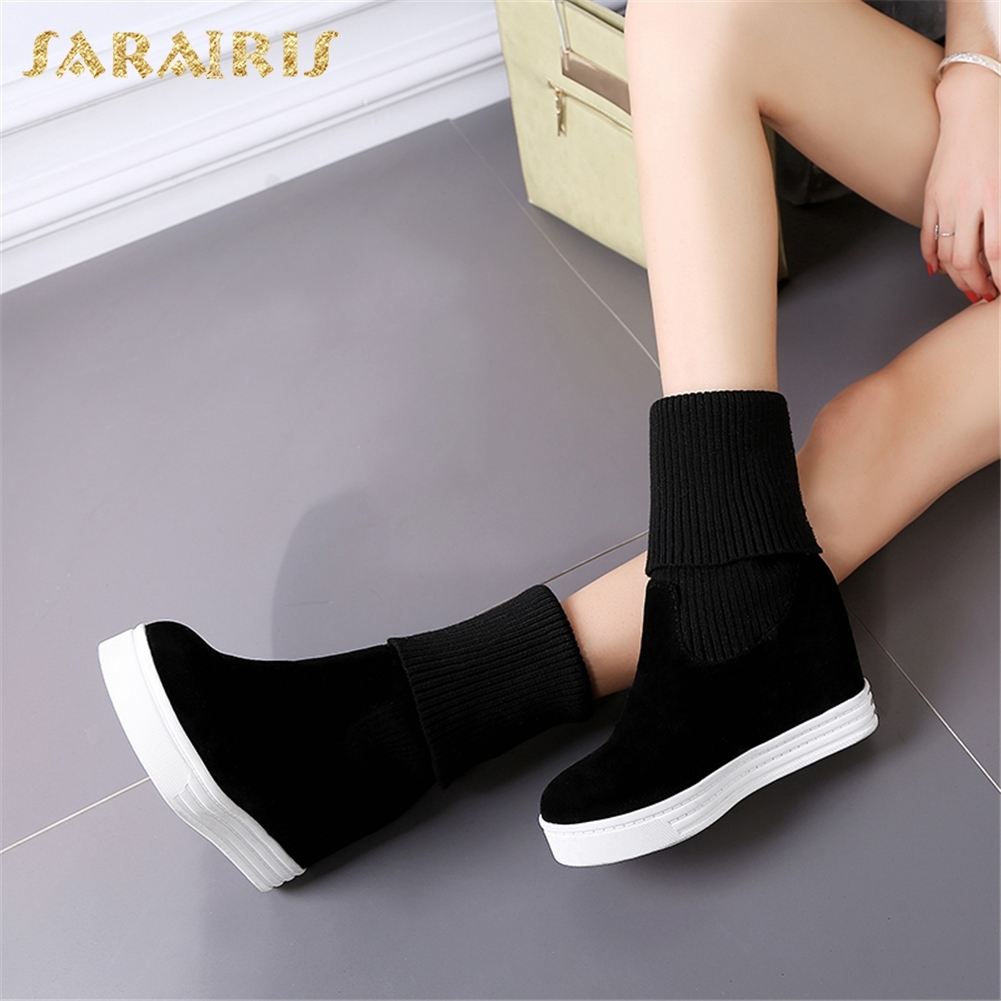 SARAIRIS New Plus Size 34-44 Add Fur Winter Booties Women Boots Woman Shoes Slip On Increasing Heels Mid Calf Boots Woman sarairis new plus size 32 46 slip on add fur add fur winter boots woman shoes chunky heels mid calf boots shoes woman