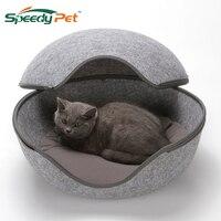 2 in1 Detachable Cute Egg Shape Pet Nest Cat Litter Kennel With Zipper Opening Universal Felt Cat Sleeping Bag Bed Pet Supplies