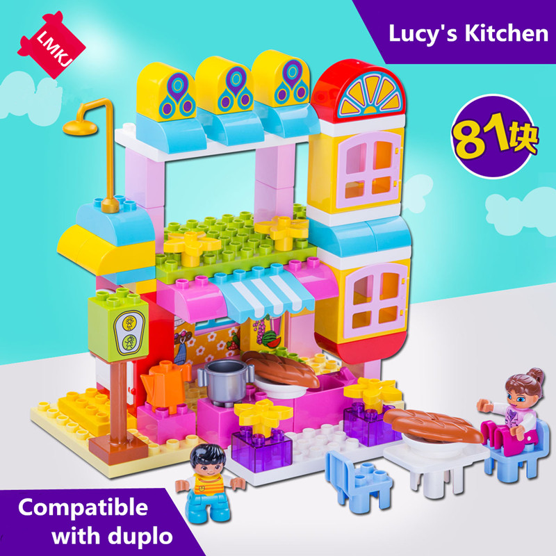 81pcs Big Size Diy Happy Kicthen Hobbies Figures Blocks Set Compatible With Legoingly Bricks Duplo Toys For Children Brinquedos туфли yves saint laurent ysl saint laurent paris 15