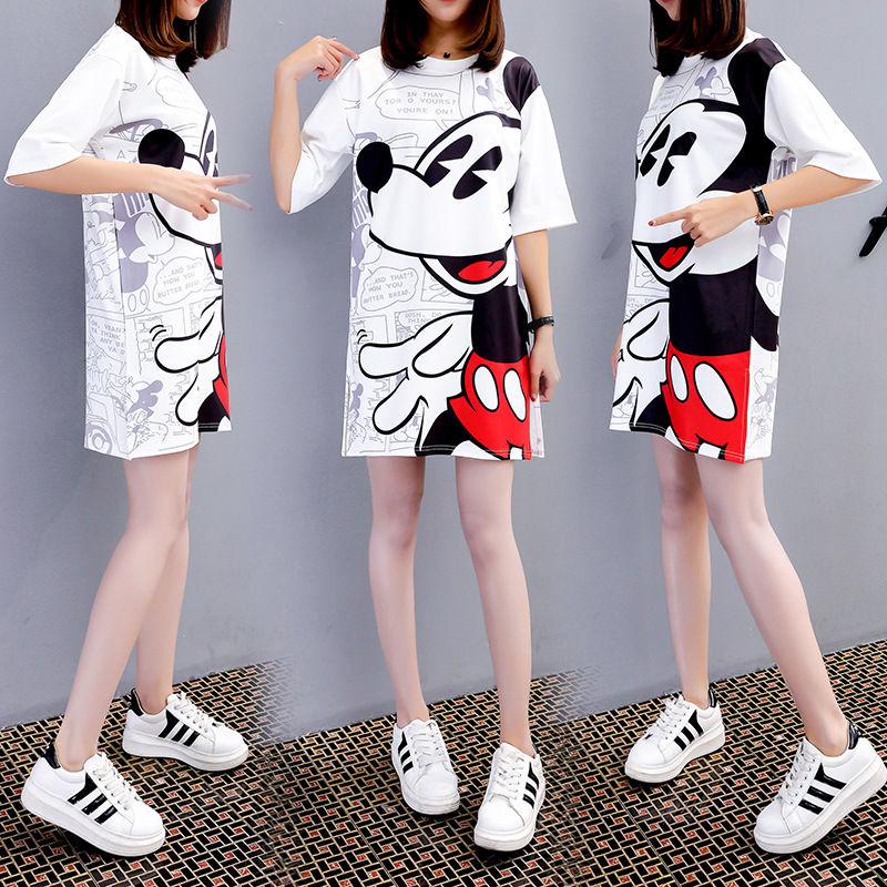 Minnie Mouse Costumes Women's cartoon print large size t-shirt skirt Summer New Style Short Sleeve Turtleneck Fashion Dress