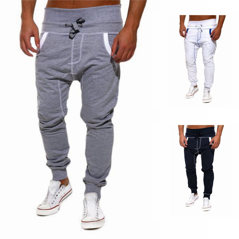 2017 Autumn Winter Mens Joggers Casual Pants Personality Diagonal Zipper Spell Color Slim Cargo Pants Sweatpants Harem Pants