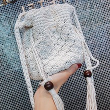 Fashion Tassel Handmade Cotton Bucket Linen Straw Vintage Lady Messenger Bag Beach Weaving Handbags