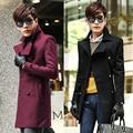 Negro azul rojo marrón otoño invierno inglaterra hombres medianas abrigo largo macho cruzado abrigo de lana guapo informal casaco masculino