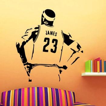 Баскетбольная звезда Лейкерс Леброн Джеймс Настенная Наклейка для подростковой комнаты для активного отдыха украшение для комнаты виниловая само-водонепроницаемая арт-деко роспись 3YD22