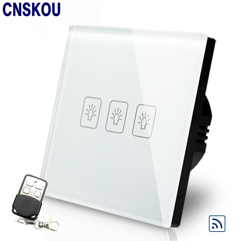 Cnskou EU Standard 3Gang Wall Light Switch Remote Control Electronic Touch Switch With LED White Crystal Glass Panel us standard touch remote control light switch 3gang1way black pearl crystal glass wall switch with led indicator mg us01rc