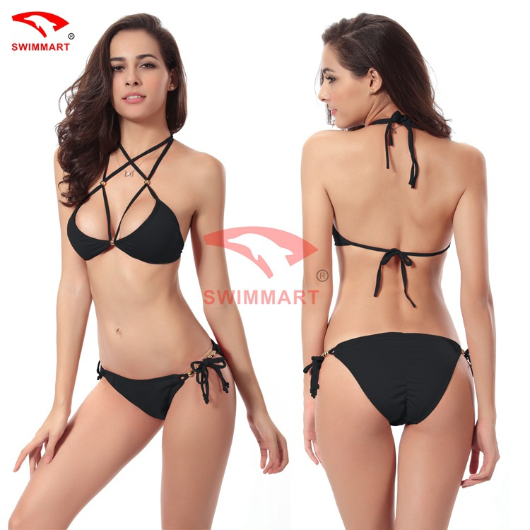 Punctual Swimsuit Bathing Suit Women Sexy Halter String Bandage Bikini Set Mini Micro Scrunch Beaded Push Up Bikini Thong Swimwear Women Suitable For Men And Children Women