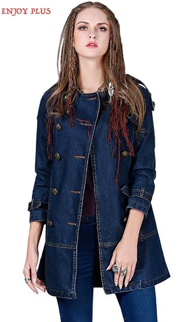 DISFRUTAR de MÁS 5% DE pecho 92-100 cm M L XL de invierno 2016 de la vendimia jeans larga gabardina larga de mezclilla para las mujeres doble de pecho de algodón femenino