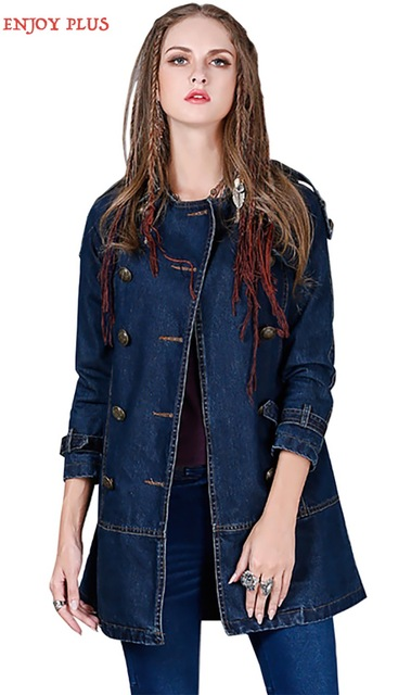 ENJOY PLUS 5%OFF chest 92-100cm M L XL winter 2016 vintage jeans long trench coat denim for women double breasted cotton female