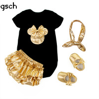 Baby Girl Christmas Dress Baby Clothing Girl 4pcs Set Cotton Romper Golden Ruffle Bloomers Shorts Shoes