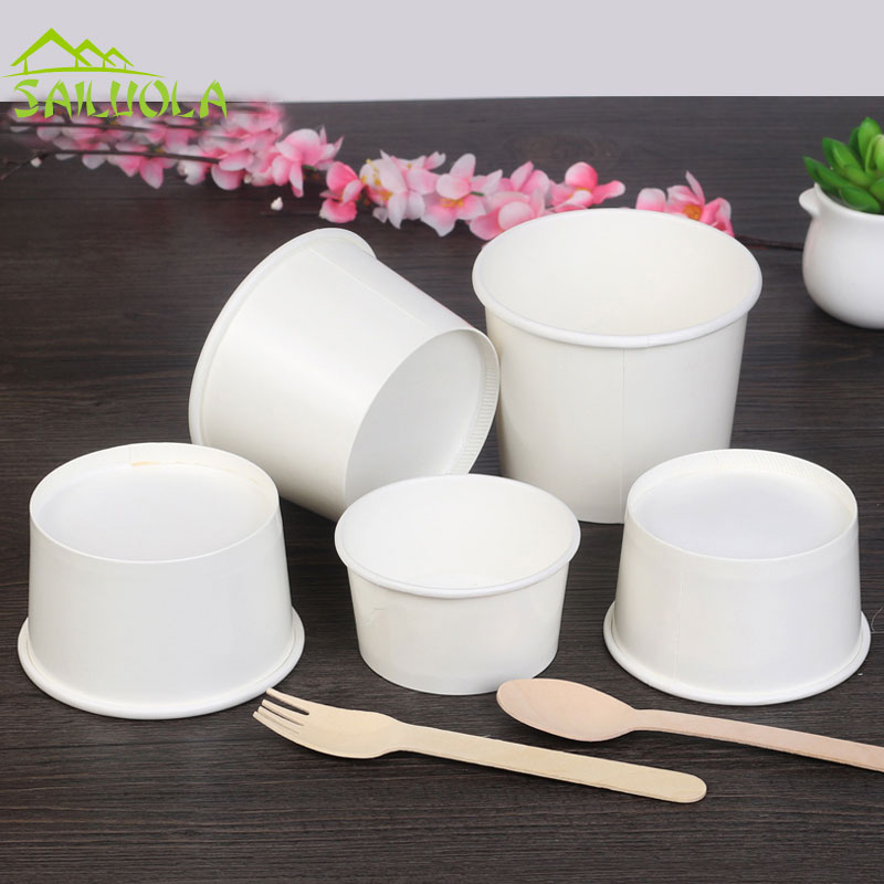 100pcs/lot 3/5/8oz White Disposable Ice Cream Paper Cup Ice Cream Paper Bowl Party Supplier