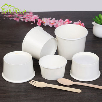 100pcs/lot 3/5/8oz White Disposable Ice Cream Paper Cup