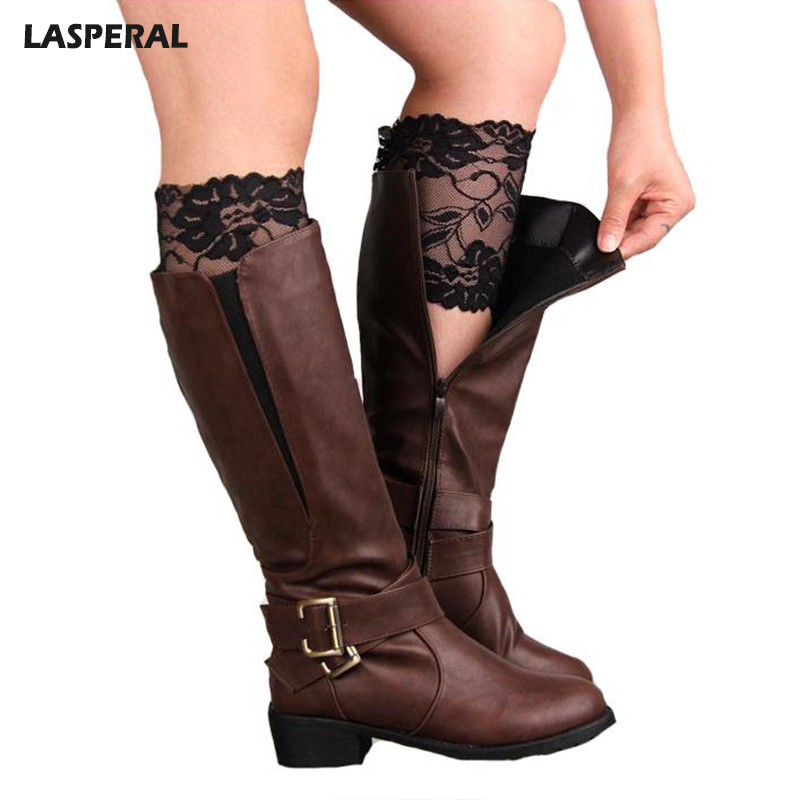 LASPERAL Brand Boot Socks Womens Stretch Lace Boot Cuffs Ladies Sexy Knee Ankle Wamer Spring Trim Toppers Socks Leg Warmers