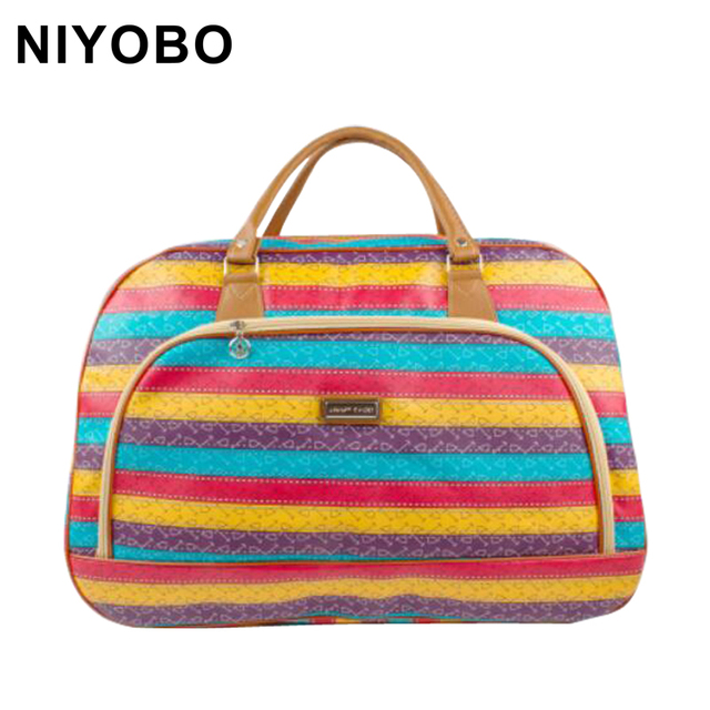 2016 New Brand Travel Bag Waterproof  PU Leather  Handbag Women/Men Print  Travel Bags Luggage  Feminina Duffle Bag DQ28