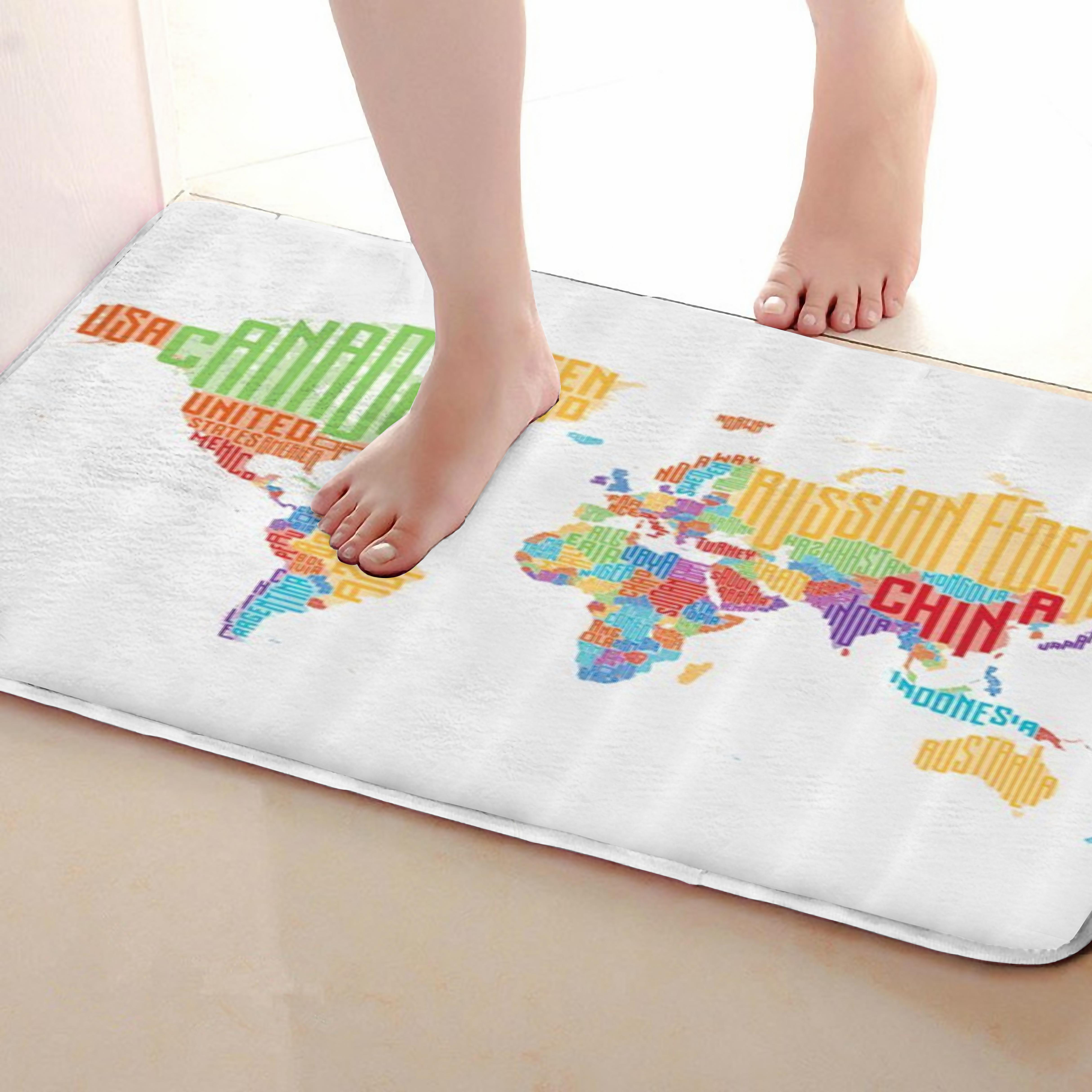 Map Style Bathroom Mat,Funny Anti Skid Bath Mat,Shower Curtains Accessories,Matching Your Shower Curtain