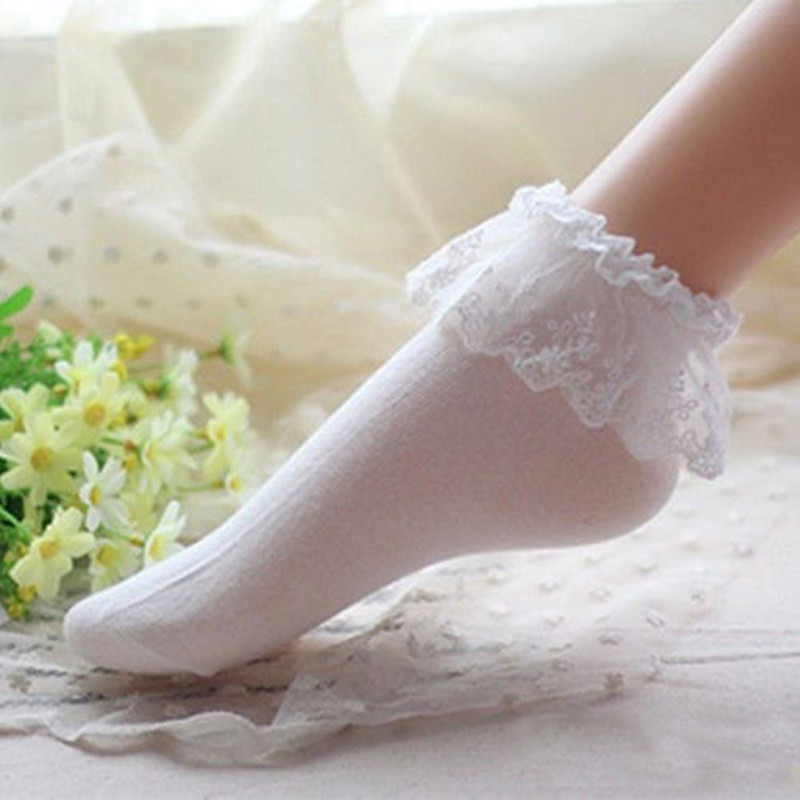 KLV 1Pair Princess Girl Candy Color Women Ladies Vintage Lace Ruffle Frilly Ankle Socks Cute Girl White Lace Lolita Socks