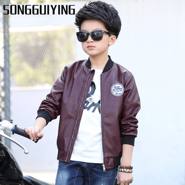 f9198429b SONGGUIYING A28 Children s PU Leather Jacket Autumn Spring Kids ...