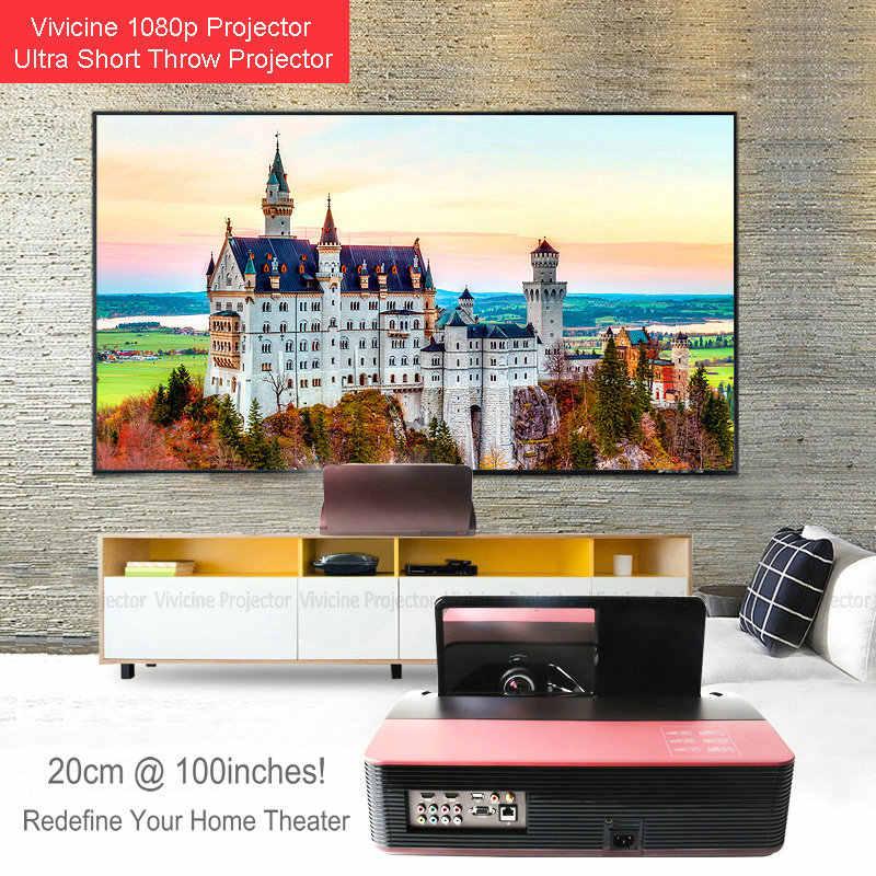 Vivicine 1080 P Ultra Short Throw Projector Android Wifi Portabel Fisheye Lensa Home Theater Multimedia Proyektor Video TV Beamer
