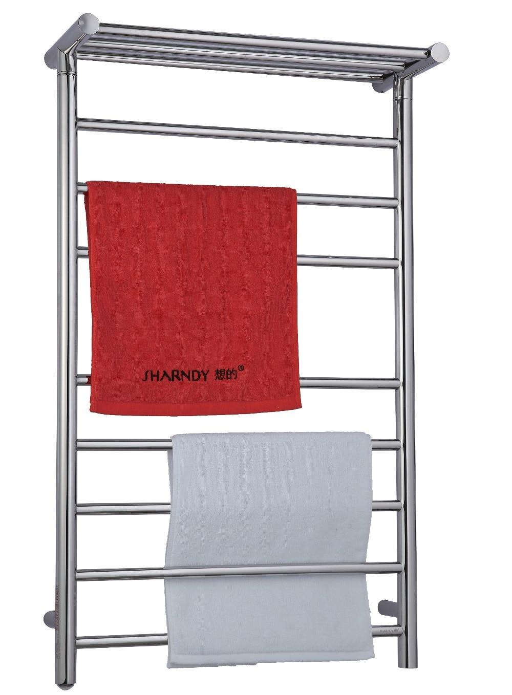 SHARNDY ETW12-4 EU/US/UK PLUG Bathroom Towel Shelf Electric Heated Towel Rails Chrome Dryer Towel Heater Rack Wall-mounted