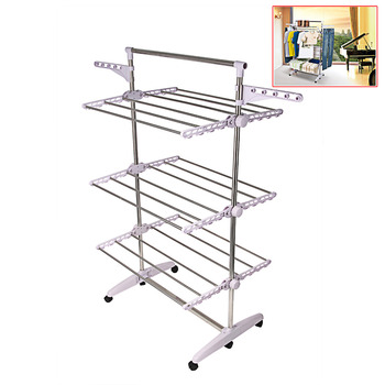 Haste racks de secagem racks de piso interior e exterior Trilhos de Dobramento Ajustável Telescópica inoxidável Rolando Roupas Rack de Vestuário