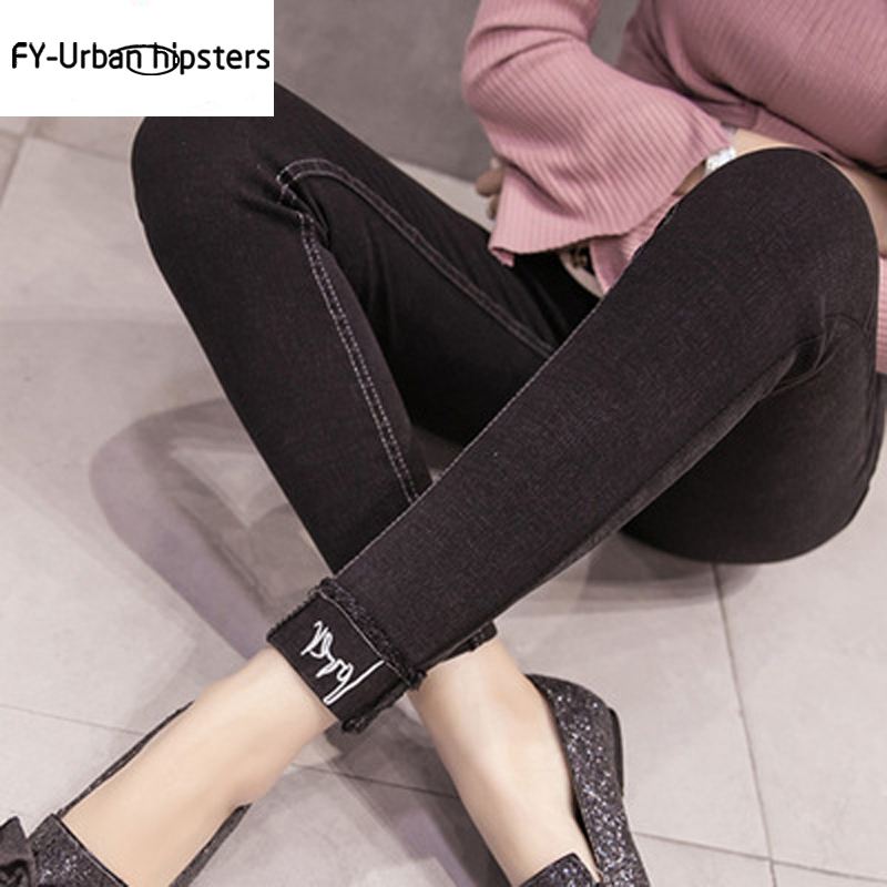 2018 high waist denim skinny pencil pants stretch   jeans   women plus size skinny   jeans   woman black Women's embroidered   jeans
