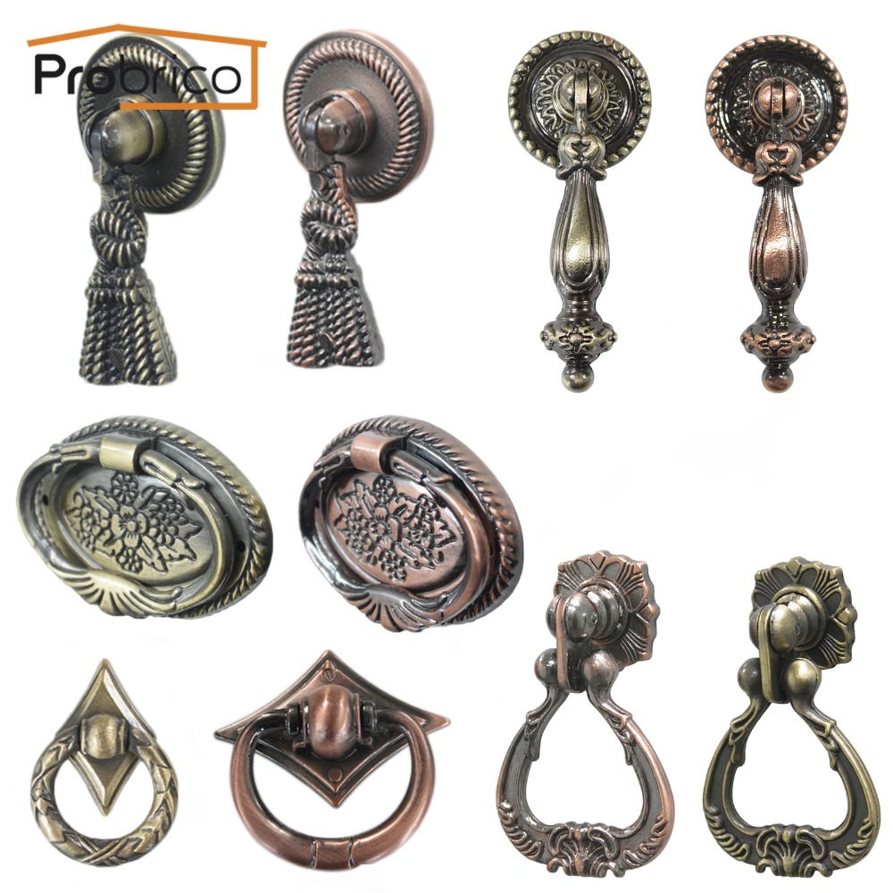Probrico Vintage Furniture Antique-Styled Drawer Knob Zinc Alloy Kitchen Cabinet Handles Cupboard Pulls hot 10pcs furniture handles european antique zinc alloy drawer cupboard kitchen cabinet door handles