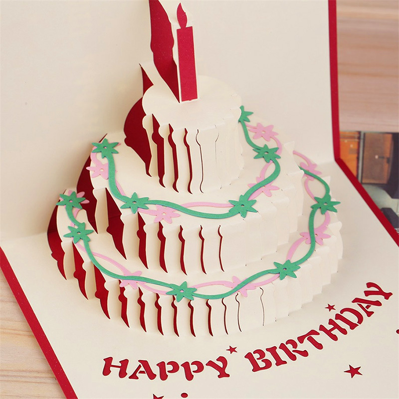 Handmade 3d Birthday Cake Pop Up Greeting Card With Candle Design