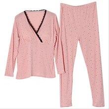 Новая мода месяц одежда хлопок кормящих пижамы весна и осень беременных женщин осенняя одежда длинные брюки костюм