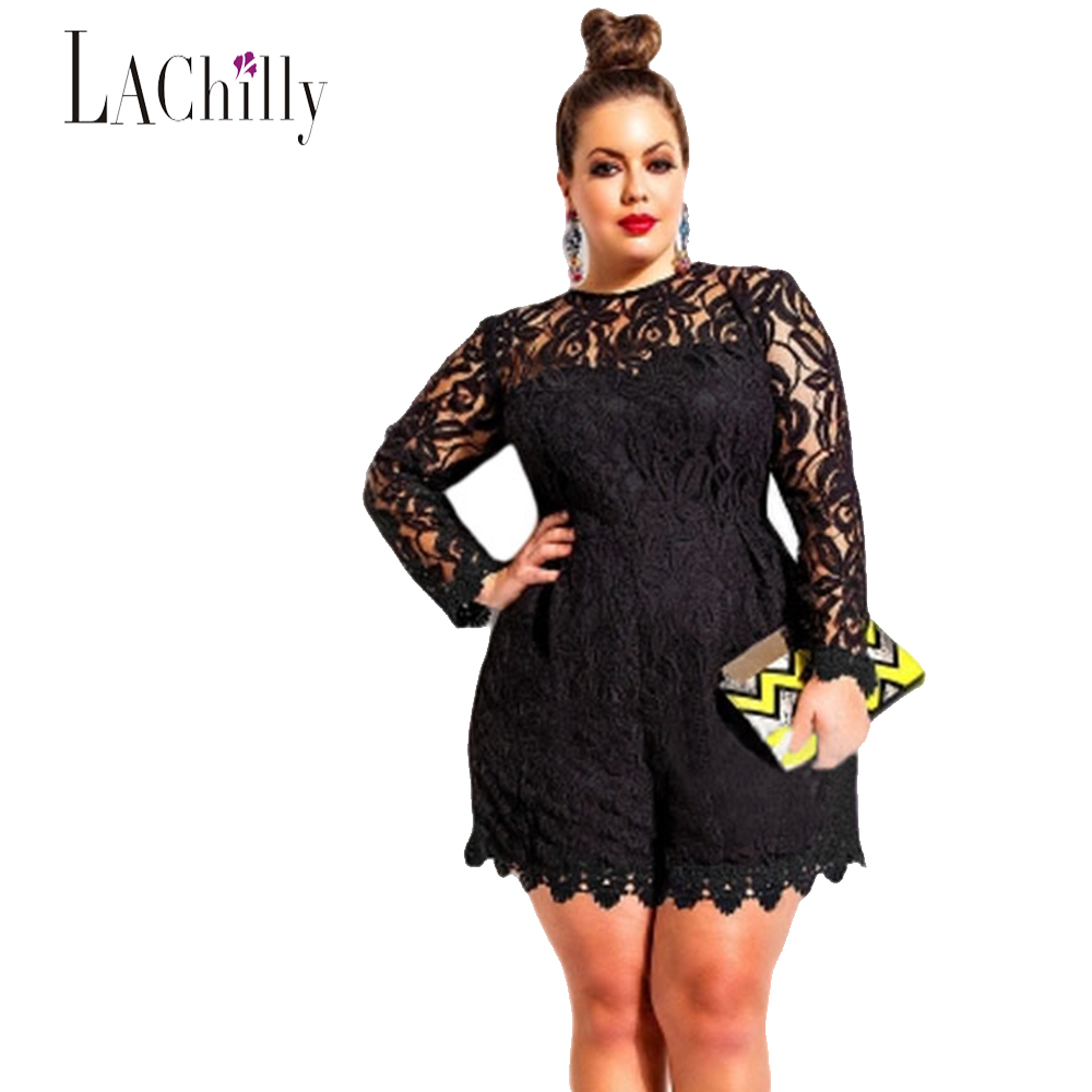 2017 New sexy Lace jumpsuit women Plus Size Long Sleeve Lace Romper LC60599 sexy jumpsuit macacao