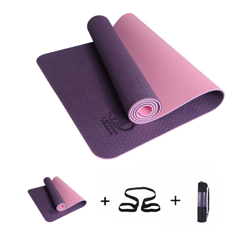 цена 183x61x0.6cm None-Slip Yoga Mat TPE with Bag and Rope Double Layers Fitness Gym Exercise Mat Gymnastics Mats