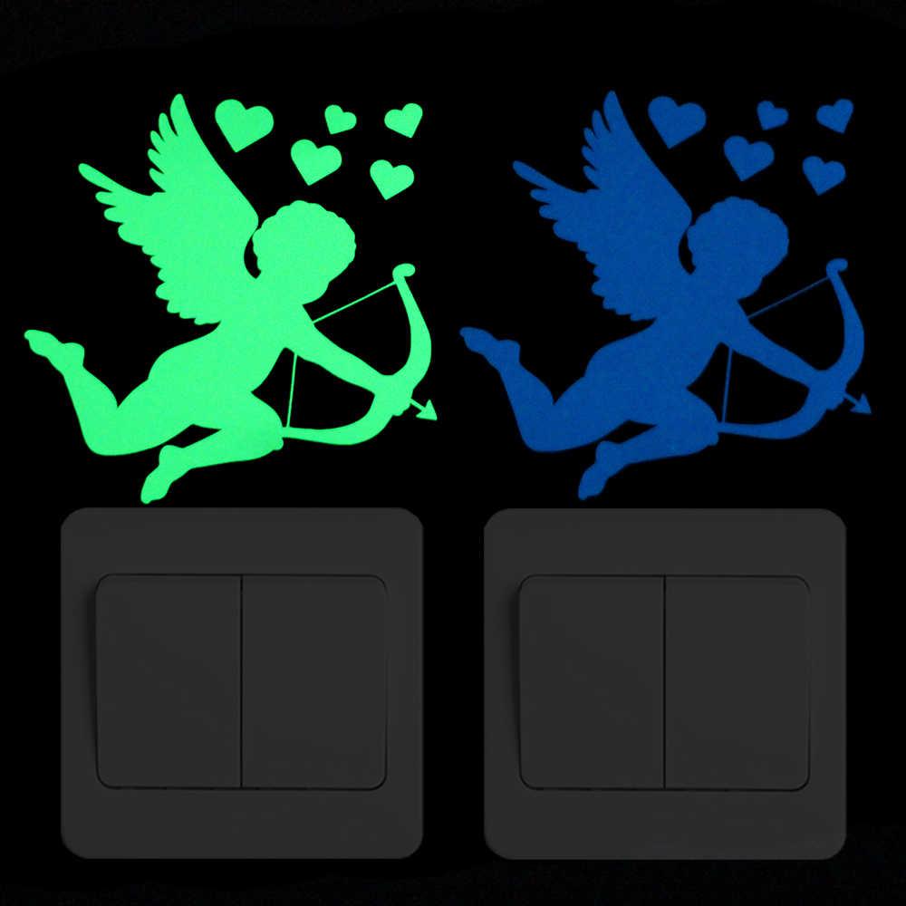 漫画キューピッド撮影矢発光ステッカー寝室のドア家具ワードローブノート Pc Diy 家の装飾光る壁ステッカー