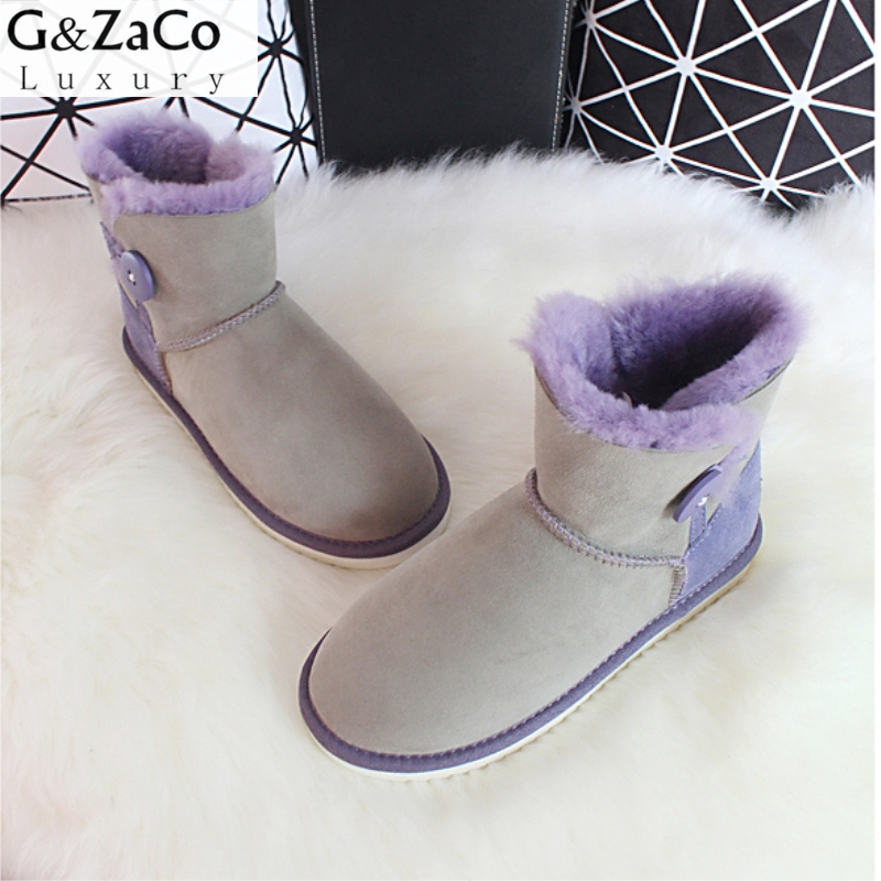 G&Zaco Luxury Female Sheepskin Snow Boots Low Button Ankle Boots Flat Mix Colors Natural Sheep Fur Women Winter Wool Boots 2016 rhinestone sheepskin women snow boots with fur flat platform ankle winter boots ladies australia boots bottine femme botas
