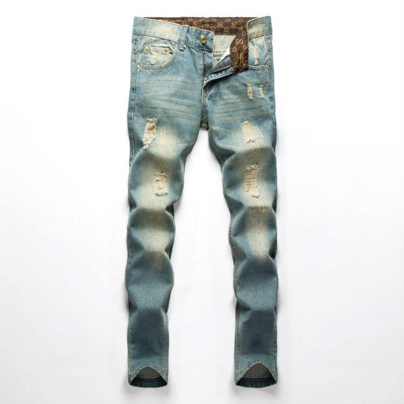 Famous Brand Men Jeans Fashion fog Designer denim Blue Printed Pants For Male Trousers,button fly jeans men men s cowboy jeans fashion blue jeans pant men plus sizes regular slim fit denim jean pants male high quality brand jeans