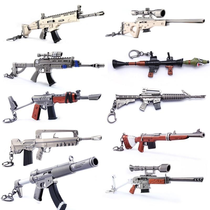 Quinze jours Keychain Action Figure Fusil Arme Gun Modèle Armes À Feu Collection Enfants Jouet Nuit Fort Nite Battle Royale Dropshipping