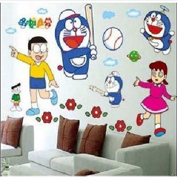 cartoon doraemon peel and stick wall sticker for kids nursery rooms
